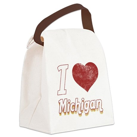 I Love Michigan (Vintage) Canvas Lunch Bag