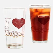 I Love Michigan (Vintage) Drinking Glass