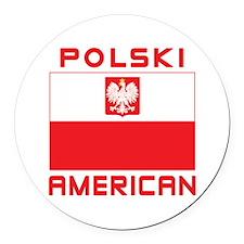 Polski American Falcon Flag Round Car Magnet