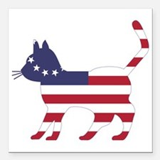 "Betsy Ross Flag Cat Icon Square Car Magnet 3"" x 3"""
