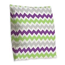 Purple Lime Grey Chevron Burlap Throw Pillow