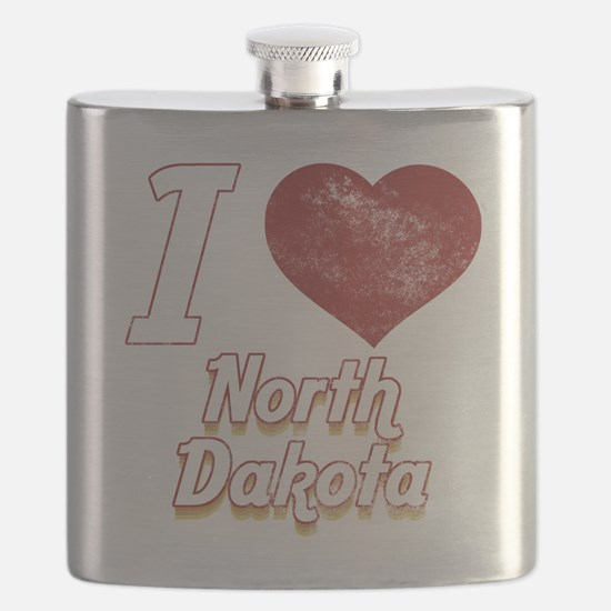 I Love North Dakota (Vintage) Flask