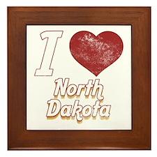 I Love North Dakota (Vintage) Framed Tile