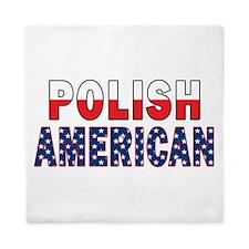 Polish American Flag Text Queen Duvet