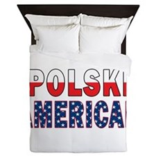Polski American Flag Text Queen Duvet