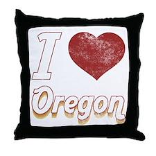 I Love Oregon (Vintage) Throw Pillow