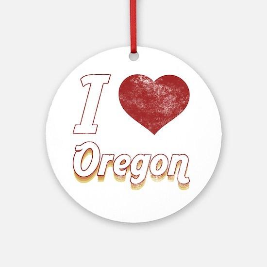 I Love Oregon (Vintage) Ornament (Round)