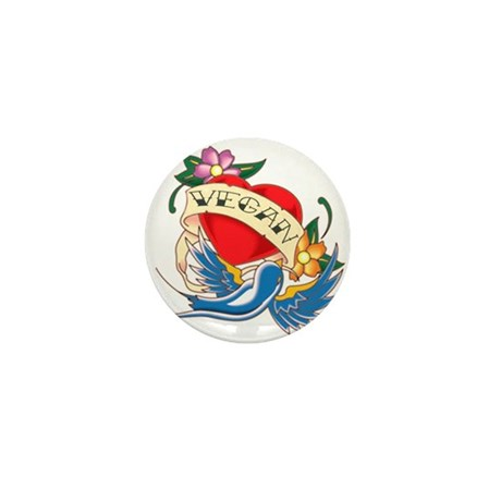 vegan tattoo Mini Button (10 pack)