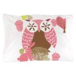 Pink and Brown Owl Pillow Case