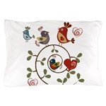 Folkart Birds Pillow Case
