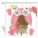 Pink and Brown Owl Shower Curtain