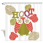Red Hoot Owl Shower Curtain