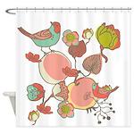 Birds in Fruit Tree Shower Curtain