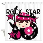 Brunette Rock Star Girl Shower Curtain