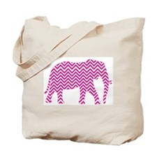 Bright Pink Chevron Elephant Tote Bag