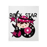 Brunette Rock Star Girl Throw Blanket