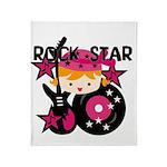 Blond Rock Star Girl Throw Blanket