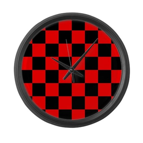 Bright red and black checkerboard large wall clock by for Red and black wall clock