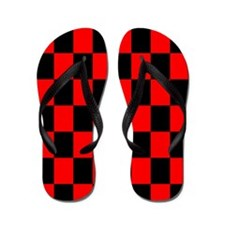 Bright red and black checkerboard Flip Flops
