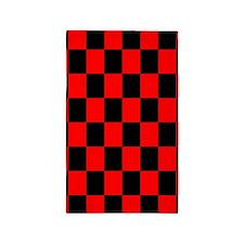 Bright red and black checkerboard 3'x5' Area Rug