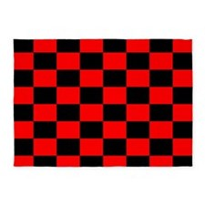 Bright red and black checkerboard 5'x7'Area Rug