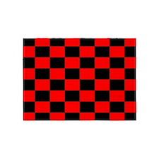 Bright red and black checkerboard 5'x7'Area Rug