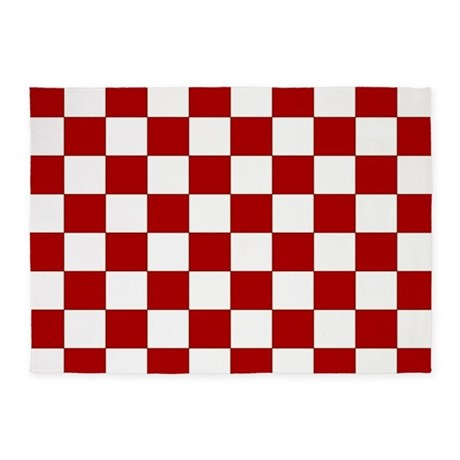 Bold Red And White Checkerboard 5u0027x7u0027Area Rug