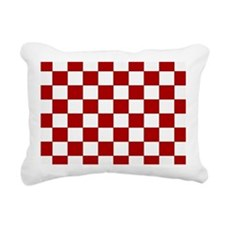 Bold Red and White Checkerboard Rectangular Canvas