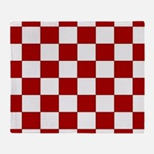 Bold Red and White Checkerboard Throw Blanket