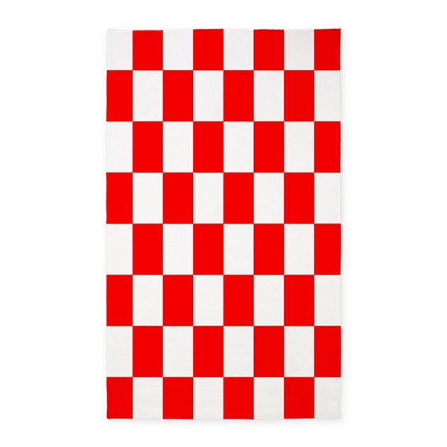 Red And White Checkered Rug: Bright Red And White Checkerboard 3'x5' Area Rug By