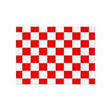 Bright Red and white checkerboard 5'x7'Area Rug