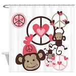 Peace Monkeys Shower Curtain