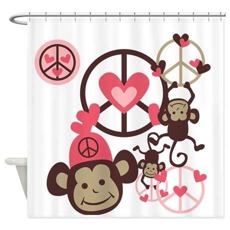 Peace Monkeys Shower Curtain By Peacockcards