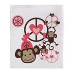 Peace Monkeys Throw Blanket