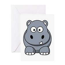 Cartoon Hippo Greeting Card