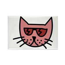 Cartoon Cat with Sunglasses Rectangle Magnet