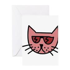 Cartoon Cat with Sunglasses Greeting Card