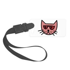 Cartoon Cat with Sunglasses Luggage Tag
