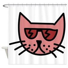 Cartoon Cat with Sunglasses Shower Curtain
