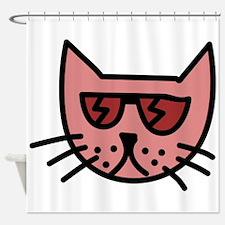 Cartoon Cat with Sunglasses Shower Curtain
