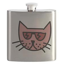 Cartoon Cat with Sunglasses Flask
