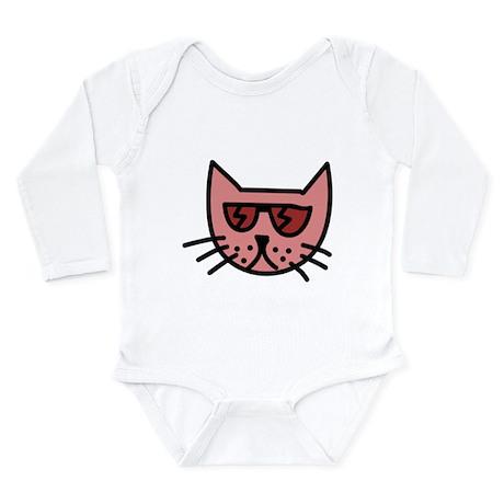 Cartoon Cat with Sunglasses Body Suit