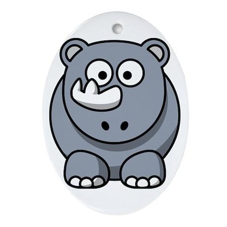 Cartoon Rhino Ornament (Oval)