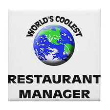 World's Coolest Restaurant Manager Tile Coaster