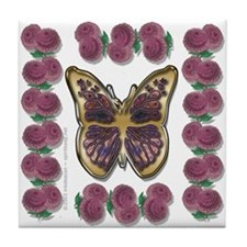 Butterfly w/ Mums Tile Coaster