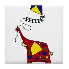 Elephant Flying Kite Cartoon Tile Coaster