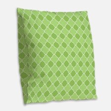 Lime Quatrefoil Burlap Throw Pillow