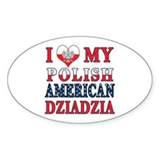 I Heart My Polish American Dziadzia Decal