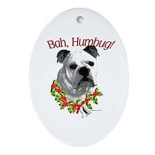 Bulldog Bah Humbug Oval Ornament
