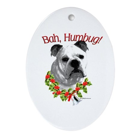Bulldog Bah Humbug Oval Ornament
